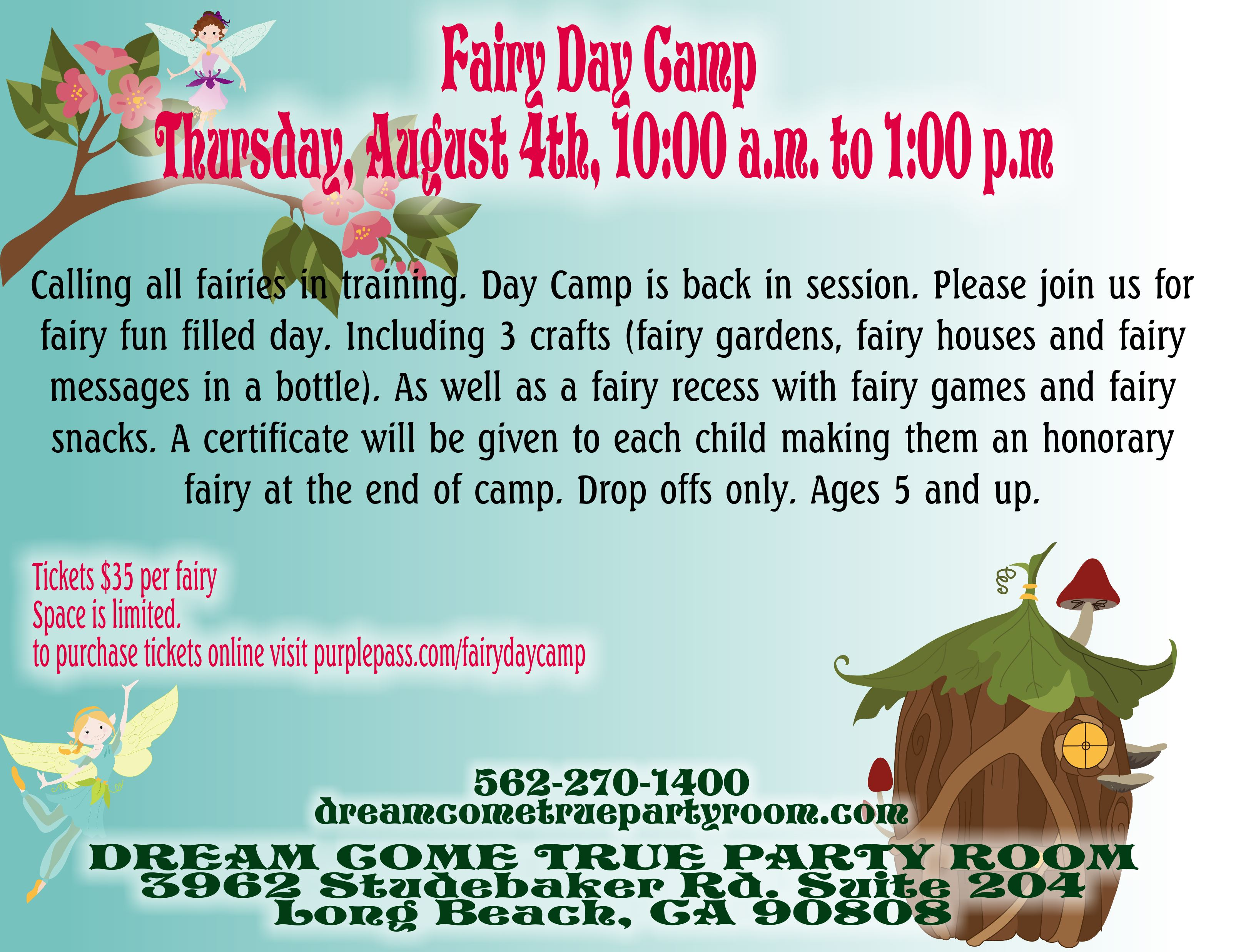 Fairy Day Camp Aug. 4th